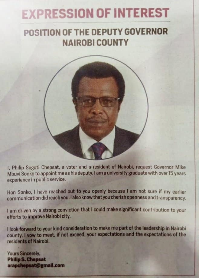 Sonko Responds To Phillip Sogoti Chepsat Who Had Applied To Be Nairobi's Deputy Governor