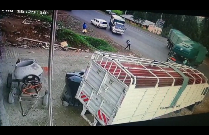 GRAPHIC VIDEO! CCTV captures moment man was crushed by a truck along Kericho-Kisumu road