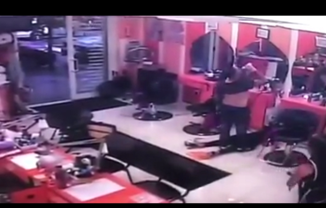 GRAPHIC CCTV FOOTAGE! Man storms a beauty parlour stabs lover to death, drinks poison and dies on the spot