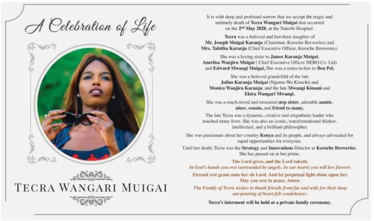 A look at Tecra Muigai's obituary