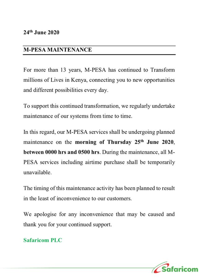 M-Pesa services to be unavailable tomorrow over planned maintenance